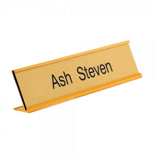"""Custom Engraved Sign/Desk Holder Complete- Traditional 2"""" x 10"""""""